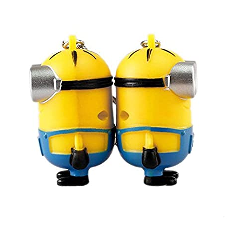 GFDay Touch Sound Toy 3D Eyes PVC Figure Single eye Despicable Me Minion Keychain Ring with LED Flashlight