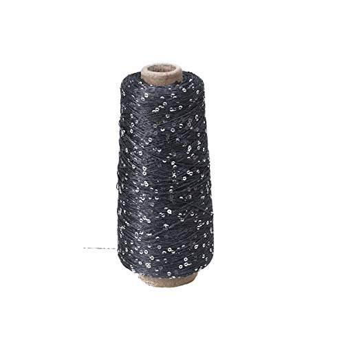 SUPVOX Sparkly Cotton Yarn with Sequin Crochet Thread Crafts Knitting Yarn (250g Dark Gray) ()