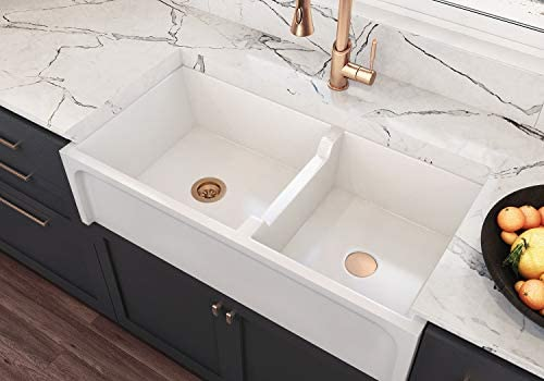 Venezia 36 Inch Fireclay Kitchen Sink with Grid, Reversible Apron Front  Farm Sink - Double Bowl