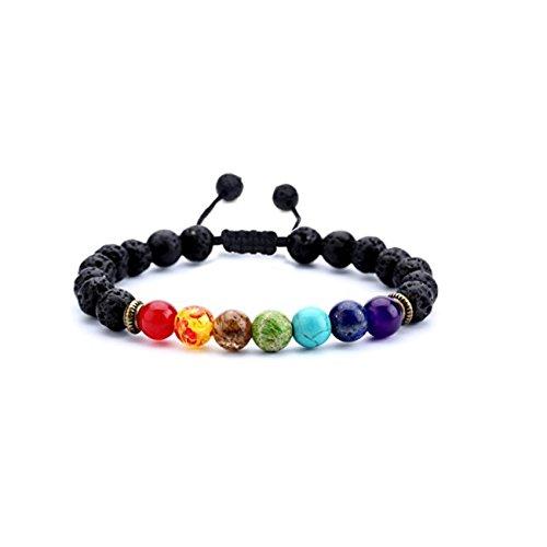 Pulseras Para Hombre de piedras de Lava 7 Chakras Ajustable Budha Brazalete Mujer Yoga Zen Accesorios para Dama y Caballero...