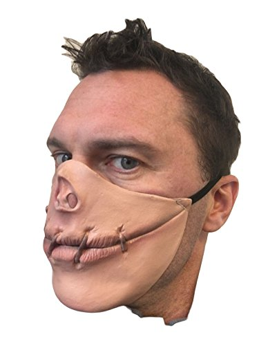 Speak No Evil Stitched Mouth Half Face Mask by Rubber Johnnies, Latex, Halloween, Horror]()