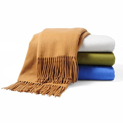 CUDDLE DREAMS Premium Cashmere Throw Blanket with Fringe, Luxuriously Soft (Camel)