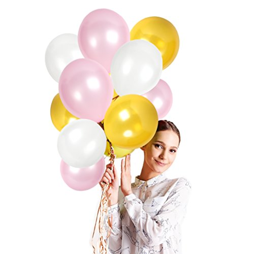 12 Inch Latex White Bright Pink and Gold Balloons for Bridal Shower Party Decorations Set and Happy Birthday Floating Balloons Banner Pack of 100 Pieces