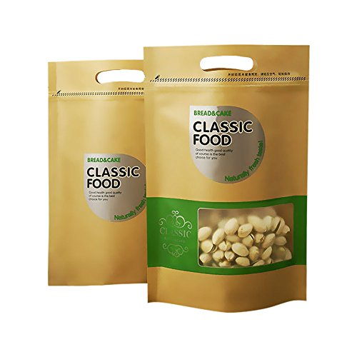 Kraft Paper Leisure Food Zipper Bags with Transparent Window,Pack of 20