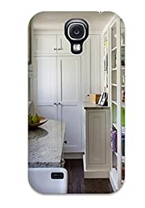 Tpu AmandaMichaelFazio Shockproof Scratcheproof White Contemporary Kitchen Includes Tall Pantry And Bookcase For Cookbooks Hard Case Cover For Galaxy S4
