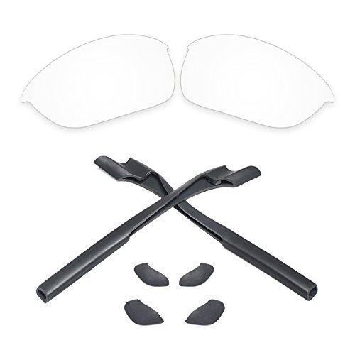 Replacement Lenses & Earsocks Rubber Kits for Oakley Half Jacket 2.0 Sunglasses (Crystal Clear-Non - 2.0 Earsocks Jacket Half