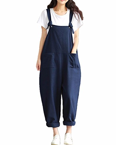 Fashion Suit Trousers - StyleDome Women's Strap Overall Pockets Long Playsuit Casual Baggy Sleeveless Pants Jumpsuit Trousers Navy US 10