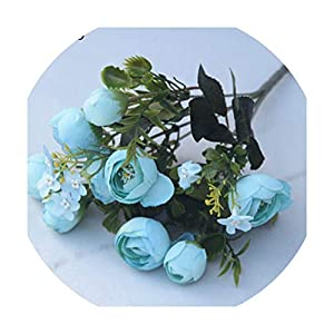 foosheeonzi Rose Wedding Bouquet Bridal Bridesmaid Camellia Bouquet 10 Heads Artificial Silk Flowers Home Party Decor,Blue 108