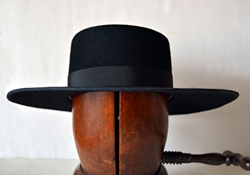 The Black Bolero - Wool Felt Flat Crown Bolero Hat - Extra Wide Brim - Men Women by HNC-HatWorks