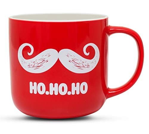 Gifffted Funny Christmas Coffee Mug, Santa Claus Moustache and HO HO HO, Unique Christmas Mugs For Friends and Family Christmas Gifts, Red, Ceramic, 13 Ounce