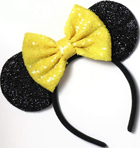 - Yellow Belle Mickey Ears, Disney Ears, Disneyland Ears, Yellow Minnie Ears, Yellow Ears, Minnie Mouse Ears,