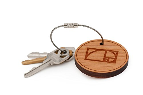 - Golden Ratio Keychain, Wood Twist Cable Keychain - Large