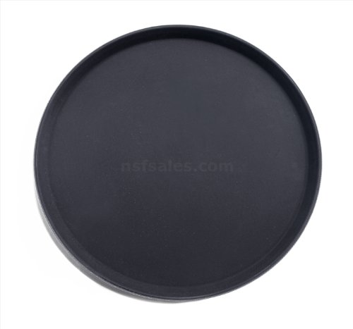 New Star Foodservice 25330 Non-Slip Tray, Plastic, Rubber Lined,  Round, 18 inch, Black]()