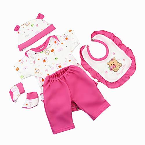NPKPINK 다시 태어난 인형 아기 소녀 의류 5 조각 세트 의상 16-18 인치 다시 태어난 아기 인형 옷