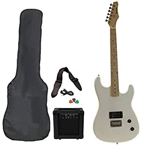 white full size electric guitar with amp case strap cord picks pack beginner starter. Black Bedroom Furniture Sets. Home Design Ideas