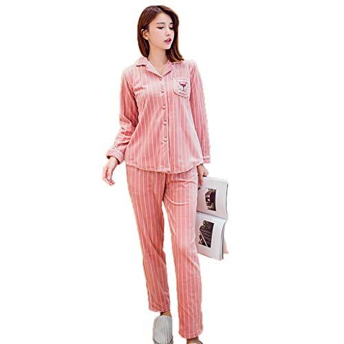 Pueden Pink Coral Pink Invierno A Camisones Size Xxl De Pijamas Solapa Vellón color Suelta Gruesos Domicilio Usar Conjunto Servicio Mujer Se RRT6qAI