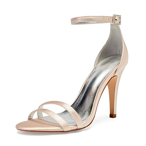 Elobaby Women Wedding Shoes Toe Open Silk Dress Party Satin Kitten Heels Buckle Evening High Heels/10.5 cm Heel, Champagne, ()