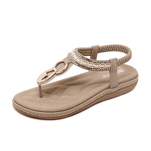 Colorxy Women Bohemian Glitter Ankle Flat Sandals Summer Elastic T-Strap Flip Flop Thong Sandals
