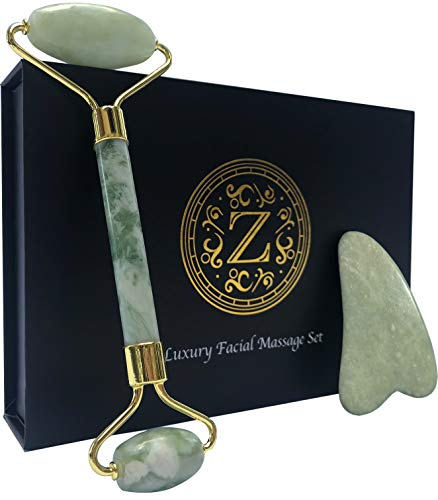 Jade Roller and Gua Sha  Luxury Facial Massage Set by Zamlinco  Genuine Natural Jade Stone Tools for Relieving Face Tension and Improving Skin Quality