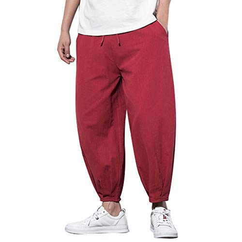 RAINED-Men's Casual Baggy Elastic Waist Harem Pants Boho Baggy Hippie Yoga Pants Plus Size Loose Fit Wide Leg Pants Wine