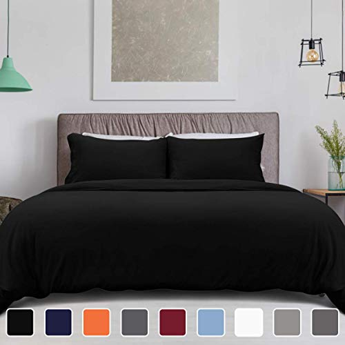 HOMEIDEAS 3 Piece Duvet Cover Set Black King Size - Double Brushed Microfiber 1800 with Extra Pillowcase - Breathable, Comfortable, Fade, Stain Resistant