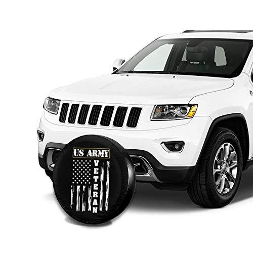 US ARMY Veteran - Distressed American Flag Waterproof Universal Spare Tire Cover (14