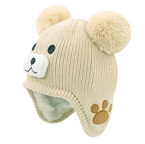 RARITY-US Kids Toddlers Winter Ear Flap Beanie Hat Cute Bear Warm Pom Pom Knit Hat Beige (Hat Animal Ski)