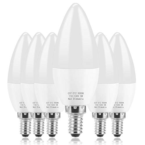 E12 LED Bulb Candelabra LED Bulbs Daylight White 5000K Ceiling Fan Light Chandelier Base Non Dimmable Equivalent 60Watt Candelabras 6W 550Lumens (6-Pack)