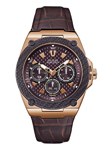 GUESS  Brown Genuine Leather Watch with Brown Dial, Day, Date + 24 Hour Military/Int'l Time. Color: Brown (Model: U1058G2) ()