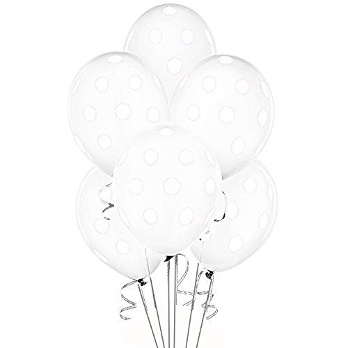 Balloons 11 Inch Premium Latex Clear White with White Polka