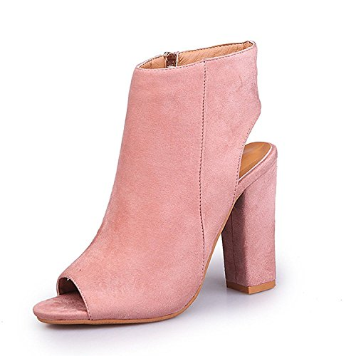 Cutout Fisherman Zip Maybest Pink Sandals up Women's Heels Stacked Booties Ankle Chunky wFaxUaq