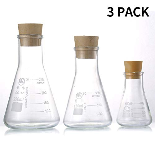 Young4us Glass Erlenmeyer Flask Set, (250 ml, 150 ml & 50 ml) Graduated Borosilicate Glass Erlenmeyer Flasks with Rubber Stoppers & Accurate Scales for Lab, Experiment, Chemistry, Science Studies etc.