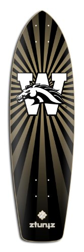 Western Michigan University Wood - ztuntz skateboards Western Michigan University Transporter Skateboard Deck, 8.25 x 30-Inch/17-Inch WB, Black/White/Gold