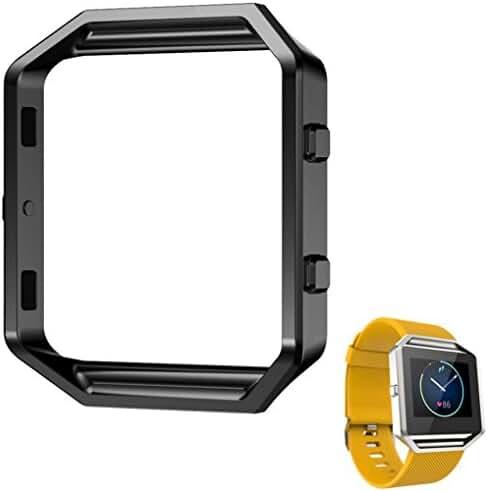 Siniao Stainless Steel Metal Watch Frame Holder Shell For Fitbit Blaze Smart Watch ( Black, 1PC)