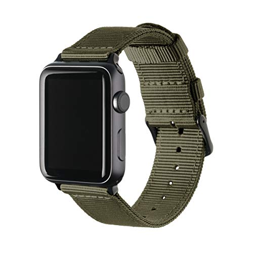 Archer Watch Straps | Premium Nylon Replacement Bands for Apple Watch (Olive, Black, 42mm)
