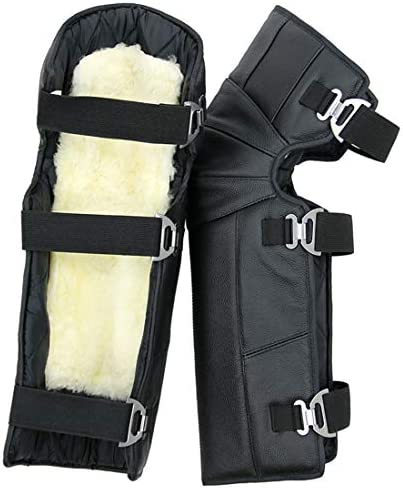 LilyAngel オートバイ乗馬膝パッド防水防風暖かい屋外冬の保護装置 (Color : ブラック)