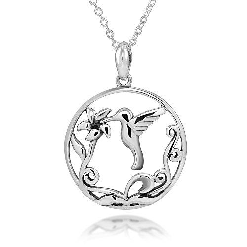 Sterling Hummingbird Pendant (925 Sterling Silver Filigree Flower Hummingbird Round Pendent Necklace, 18