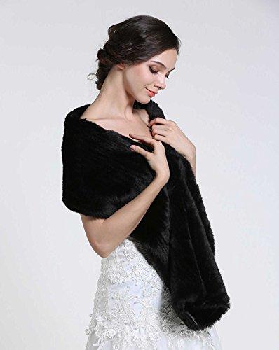 Aukmla Women's Faux Fur Shawls and Wraps Bridal Wedding Stole (Black) by Aukmla (Image #2)