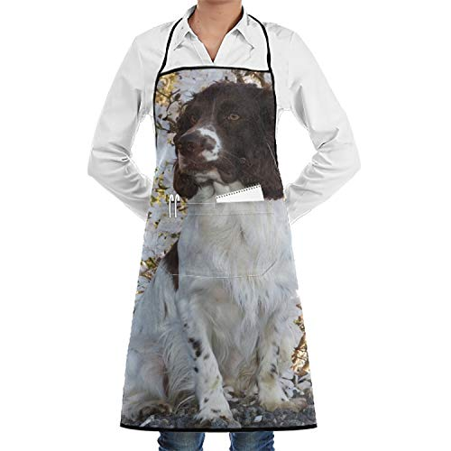 LOVEUIO Animal Springer Spaniel Dogs Kitchen Aprons Unisex Aprons Funny Apron for Chef Kitchen