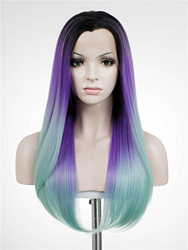 Imstyle 3 Tones Dark Rooted Purple Blue Cosplay Stunning Synthetic Lace Front Wig - Multicolored Lace