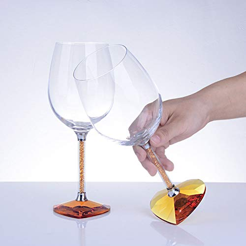 QYZLT High-end Heart-Shaped Wine Glass Crystal Diamond Goblet Large Wine Glass Couple Cup Wedding Gift,Gold