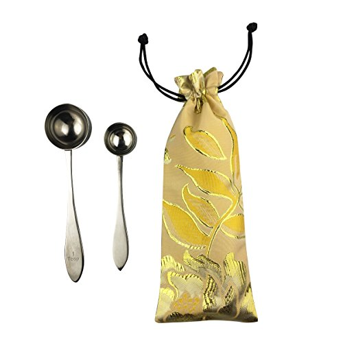 Coffee Scoop Long Handle Measuring Spoons 1 Tbsp and 1/3 Tbsp Set of 2 with Organize Bag