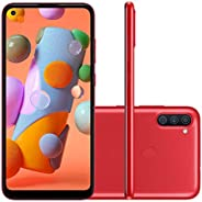 """Smartphone Samsung A11 Vermelho 64GB Android 10 Tela 6.4"""" Camera"""