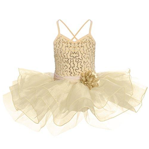 (OBEEII Toddler Kid Girl Sequin Ballet Tutu Dress Gymnastics Ballerina Camisole Flower Skirted Leotard Dancewear Costume Champagne 3-4)