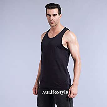 Aulifestyle 1Pcs Mens Singlets Casual Top Tank 100% Cotton Big Clothing Plus Size (3XL, Black)