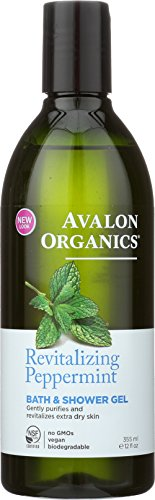 Avalon Organics Bath & Shower Gel Revitalizing Peppermint, 12 oz (Avalon Organics Bath Peppermint)