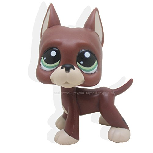 tongrou Littlest Pet Shop RARE Brown Chocolate Great Dane Dog Puppy Green Eyes LPS - Usa Mall Destiny