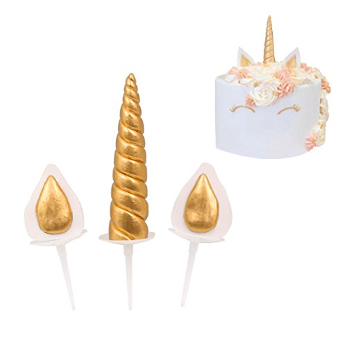 Polymer Clay Unicorn Horn Ears Set Birthday Cake Decor (gold) (Golden Cake)