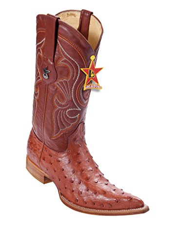 Men's 3X-Toe Cognac Genuine Leather Ostrich Skin Western Boots