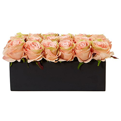 Nearly Natural Dozen Silk Roses in Rectangular Planter, Peach